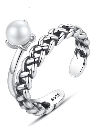 925 sterling silver Freshwater Pearl simple retro chain free size ring