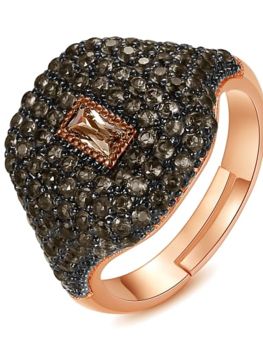 black Copper Rhinestone Geometric Dainty Band Ring