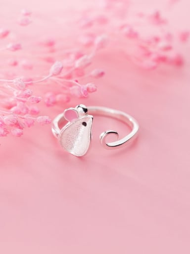 925 Sterling Silver Enamel Pink Mouse Cute Free Size Ring