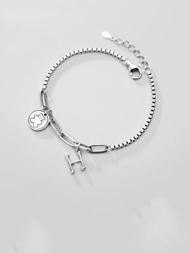 "925 Sterling Silver Vintage Letter ""H"" Box Chain  Bracelets"