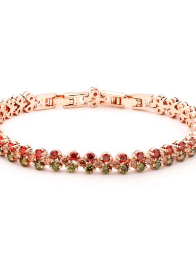 Copper Cubic Zirconia Multi Color Heart Luxury Bracelet