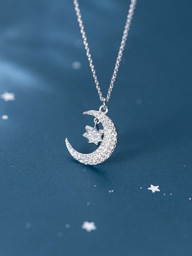 925 Sterling Silver Cubic Zirconia Fashion cute diamond star month Necklace