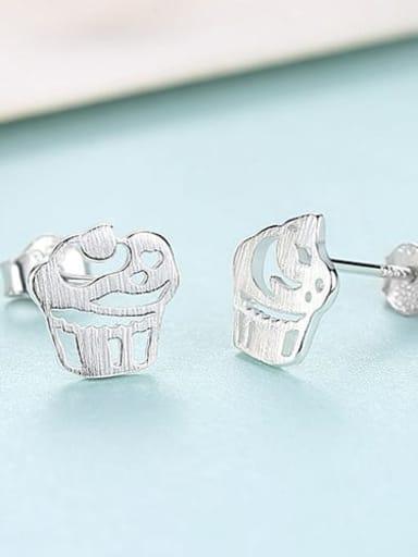 17H10 platinum 925 Sterling Silver iregular creative ice cream trend study Earring