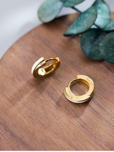 925 Sterling Silver Enamel Round Minimalist Huggie Earring