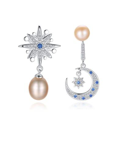 925 Sterling Silver Fashion Asymmetric Snowflake Moon Freshwater Pearl Drop Earring