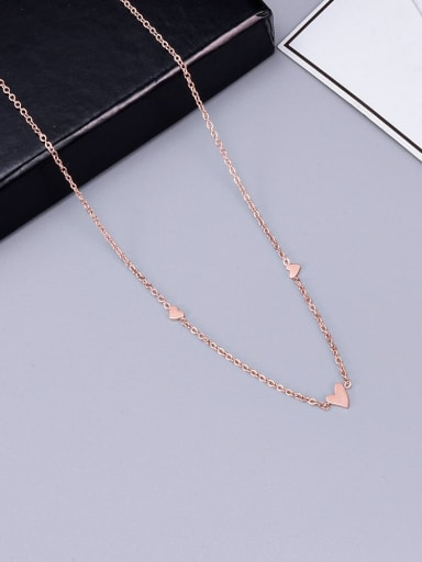 Rose Gold Titanium Smooth Triangle  Necklace