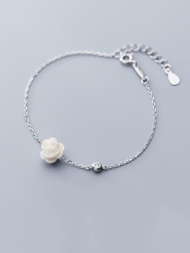 925 Sterling Silver Resin White Flower Minimalist Link Bracelet
