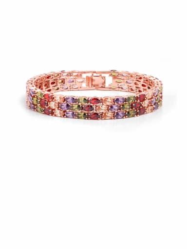 Copper Cubic Zirconia Geometric Luxury Bracelet