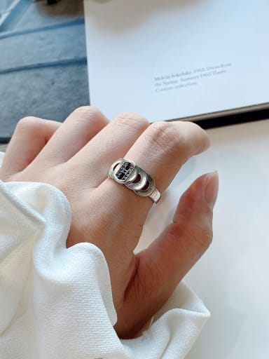 925 Sterling Silver Round Vintage   Step Free Size Midi Ring