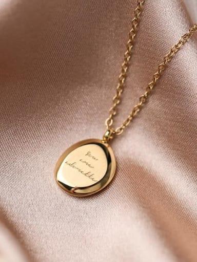 Titanium Message Minimalist Oval Pendant Necklace