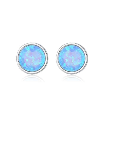 925 Sterling Silver Opal Multi Color Round Minimalist Stud Earring
