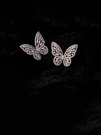 Alloy With Platinum Plated Fashion Butterfly Stud Earrings