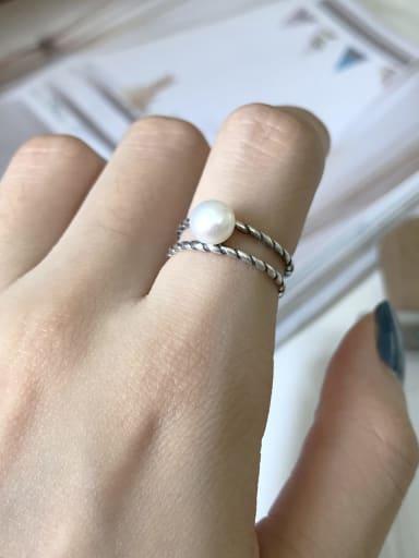 925 Sterling Silver Imitation Pearl White Geometric Trend Midi Ring