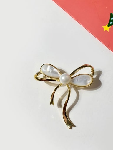 gold Copper Shell White Butterfly Trend Brooches