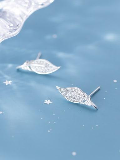 925 Sterling Silver Cubic Zirconia Leaf Minimalist Stud Earring