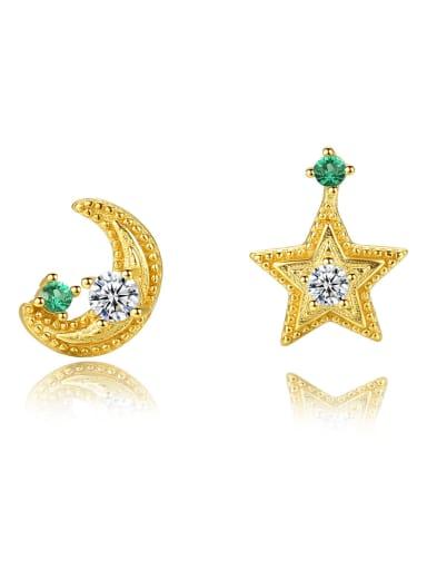 925 Sterling Silver Cubic Zirconia  Star Moon Trend Stud Earring