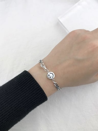 A(SL117) Vintage Sterling Silver With Antique Silver Plated Retro Smiley Bracelets