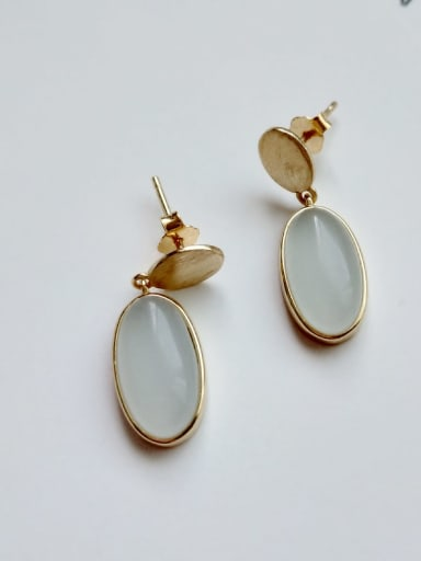 925 Sterling Silver Cats Eye Minimalist  Geometric  Drop Earring