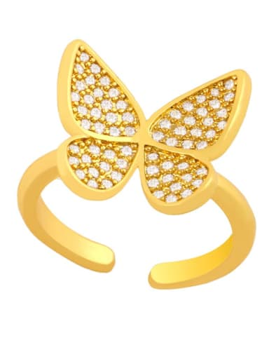 Brass Cubic Zirconia Butterfly Dainty Band Ring