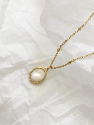 Titanium Shell Oval Minimalist Pendant Necklace