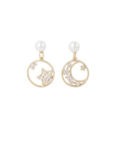 Brass Rhinestone White Round Minimalist Drop Earring