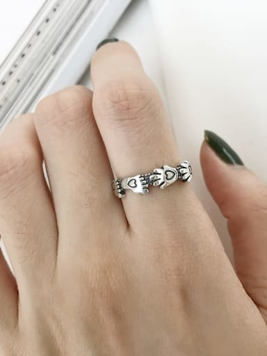 925 Sterling Silver Heart Vintage  Couple footprints Free size Midi Ring