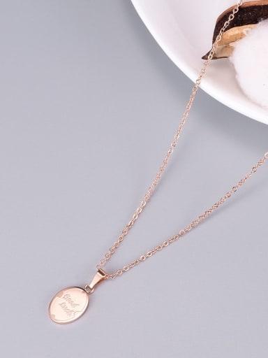 Rose Gold Titanium Letter Good Luck Necklace