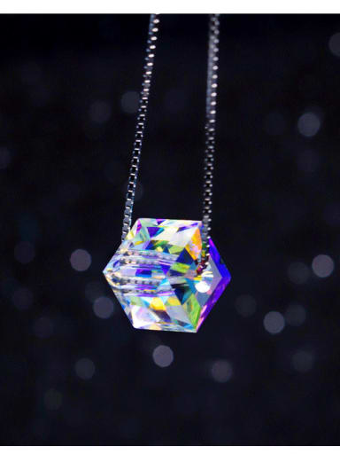 925 Sterling Silver  Austrian crystal shiny colorful pendant Necklace