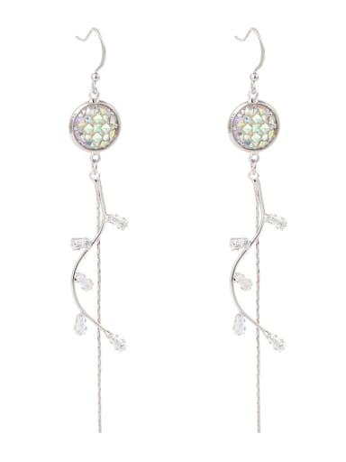 Brass Tassel Minimalist  Twig Curve Long Tassel Earrings Colorful  Threader Earring