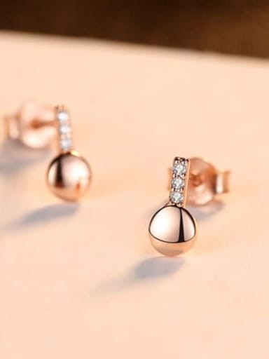 Rose gold 16e06 925 Sterling Silver Rhinestone Smooth Round Minimalist Stud Earring