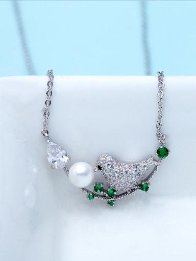 Green t10b09 Copper Cubic Zirconia Cute Bird  pendant Necklace