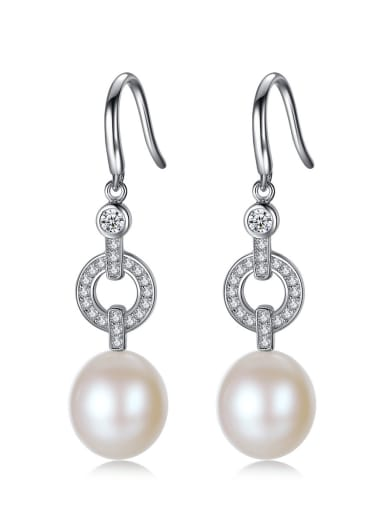 925 Sterling Silver Freshwater Pearl Hollow Geometric Classic Hook Earring