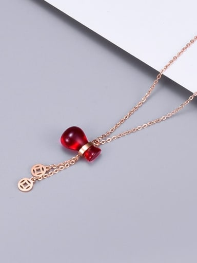 Titanium Garnet Red  Gourd Lucky Bag Necklace