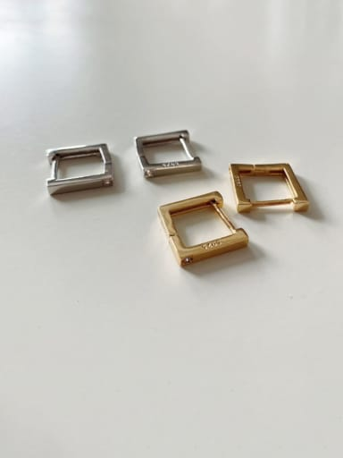 925 Sterling Silver Square Minimalist Huggie Earring