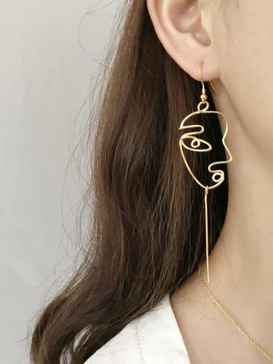 925 Sterling Silver Smiley Tassel Minimalist Hook Earring