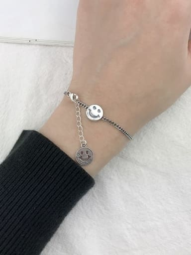 C(SL120) Vintage Sterling Silver With Antique Silver Plated Retro Smiley Bracelets