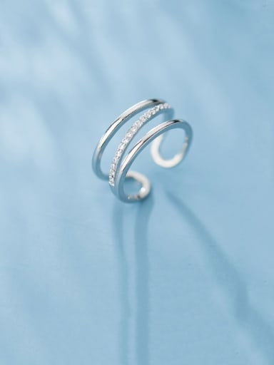 925 Sterling Silver With Platinum Plated Simplistic Multilayer Lines  Free Size Rings