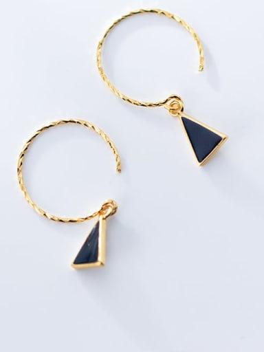 925 Sterling Silver Black Enamel Triangle Minimalist Hook Earring