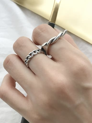 925 Sterling Silver Irregular Twist Trend Band Ring