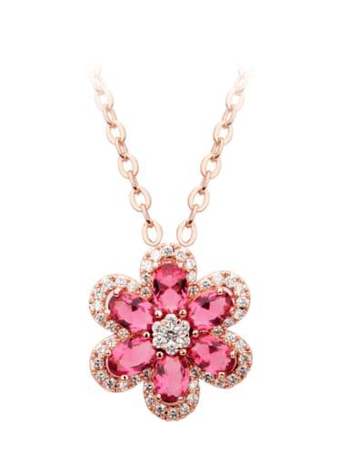 Copper Cubic Zirconia Dainty Flower  pendant Necklace