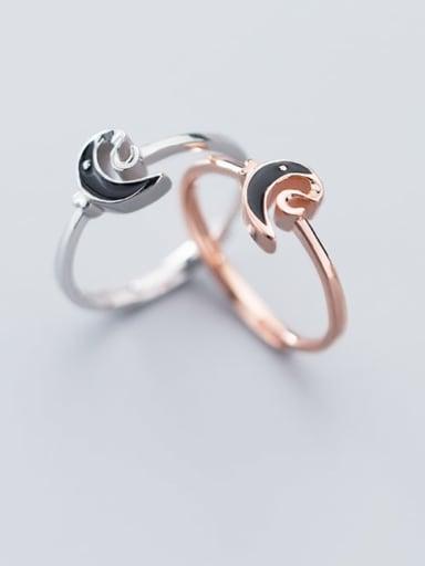 925 Sterling Silver Enamel Black Moon Minimalist Band Ring