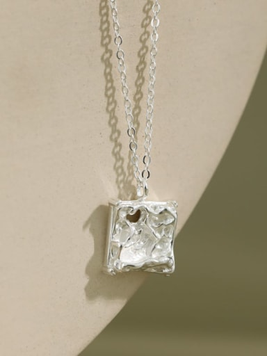 S925 pure silver simple concave convex irregular square Necklace