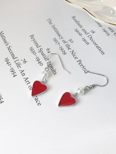 925 Sterling Silver Red Enamel Heart Minimalist Hook Earring
