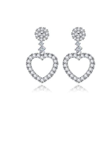 Copper Cubic Zirconia  Holloq Heart Minimalist Stud Earring