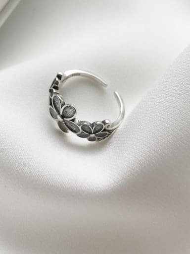 925 Sterling Silver  Little Flower Retro  Free Size Ring
