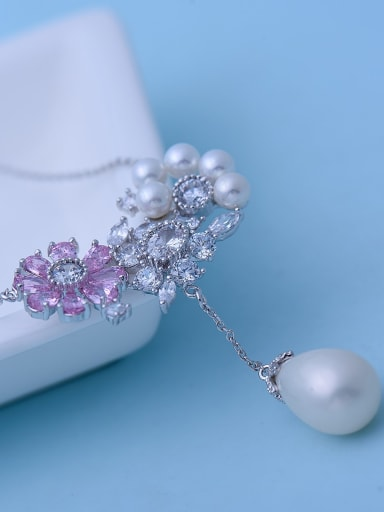 Pink platinum t10h04 Copper Imitation Pearl White Enamel Flower Cute Necklace