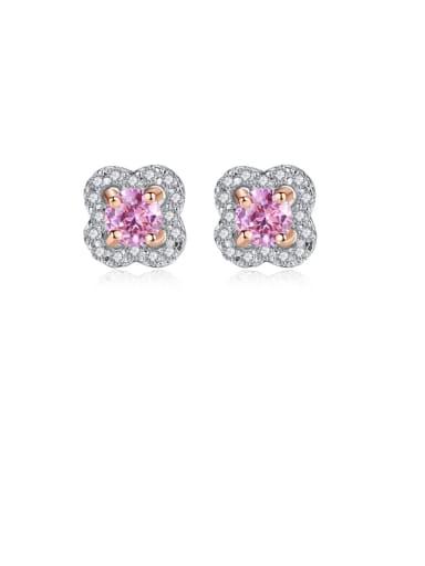 925 Sterling Silver Cubic Zirconia Pink Flower Dainty Stud Earring