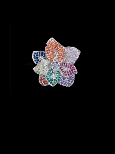Copper With Cubic Zirconia Fashion Flower Statement Free Size Rings