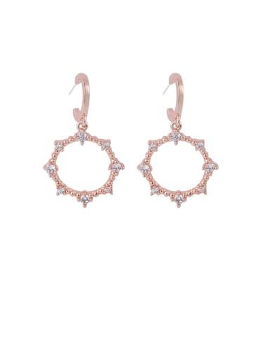 Brass Cubic Zirconia White Round Minimalist Hook Earring