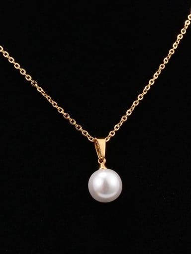 Titanium Imitation Pearl White Round Minimalist Choker Necklace